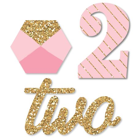 Two Much Fun - Girl - 2nd Birthday Party - Shaped DIY Cut-Outs - 24 Count (Girly Diy)