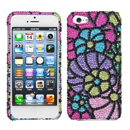 Insten Fantastic Flowers Hard Rhinestone Cover Case For iPhone SE 5 5S case -