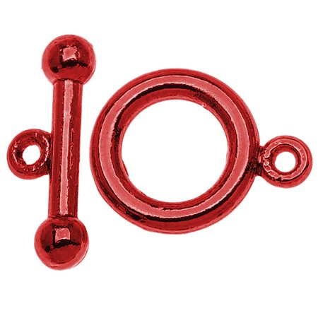 - Bright Red Color Pewter  - Toggle Clasps 6mm (4 Sets)