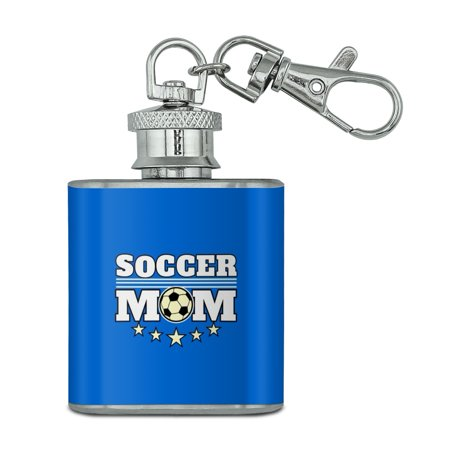 Soccer Mom Mother Sports Stainless Steel 1oz Mini Flask Key Chain