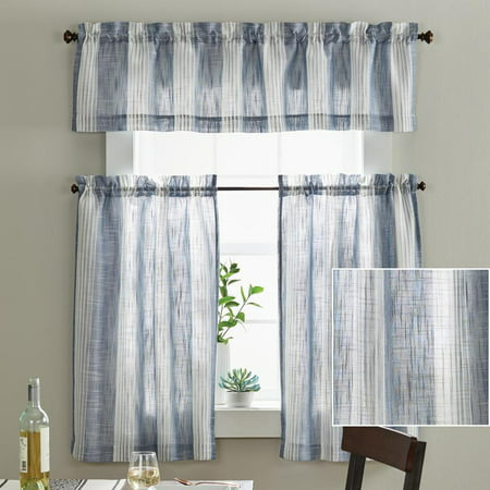 Better Homes & Gardens Woven Stripe 3-piece Kitchen Valance and Tier Curtain Set Tiered Kitchen Curtain
