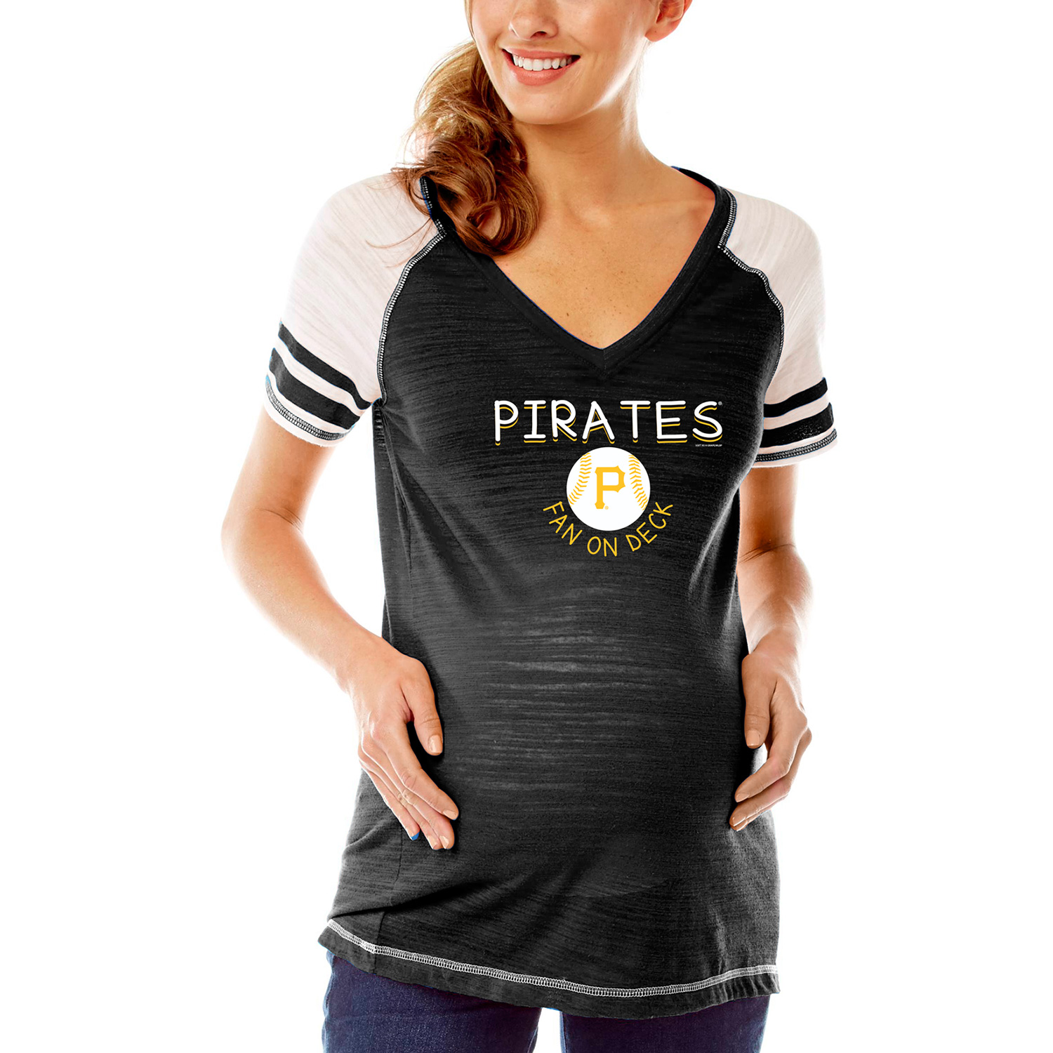 Pittsburgh Pirates Soft As A Grape Women's Maternity Leadoff Hitter Tri-Blend V-Neck Raglan Sleeve T-Shirt - Black