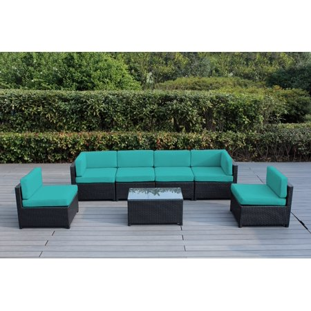 Ohana Mezzo 7-Piece Outdoor Wicker Patio Furniture Sectional Conversation Set ()