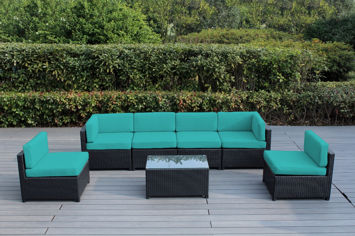 Elegant Ohana Mezzo 7 Piece Outdoor Wicker Patio Furniture Sectional Conversation  Set