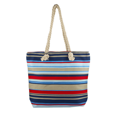 Lux Accessories Lux Accessories Womens Zip Up Beach Bag Nautical