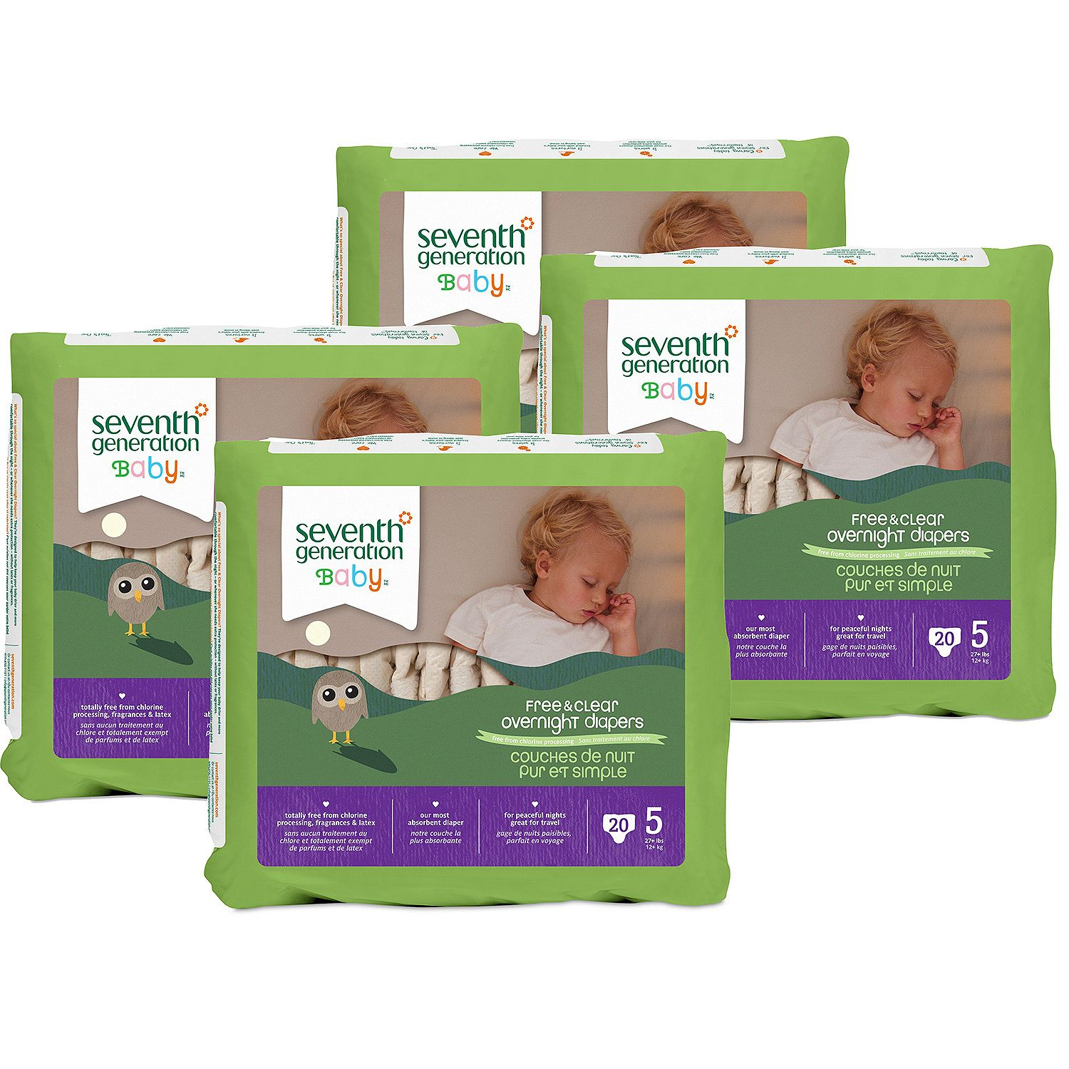 [Best Branded Diapers]-Seventh Generation Free & Clear Overnight Diapers Size Stage 5 - 20 ct. - Bulk Qty, Free Shipping - Comfortable, Soft, No licking & Good nite Diapers