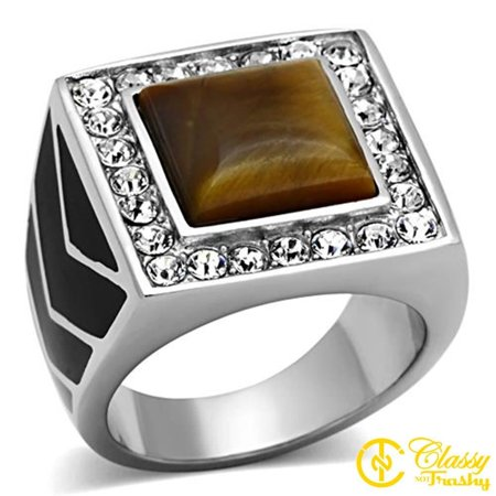 Classy Not Trashy® Men's Silver Toned Topaz Tiger Eye Squared Dome Shaped Ring - Size -