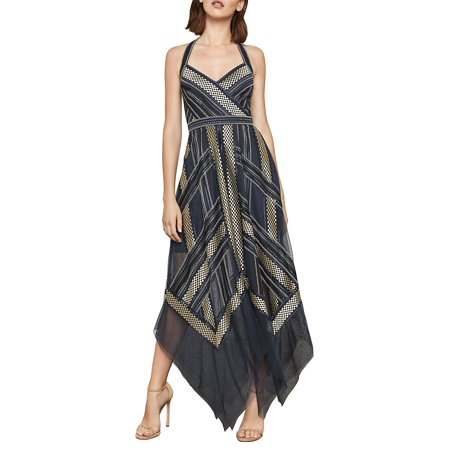 966603b27f9 BCBGMAXAZRIA - Metallic Striped Handkerchief Dress - Walmart.com