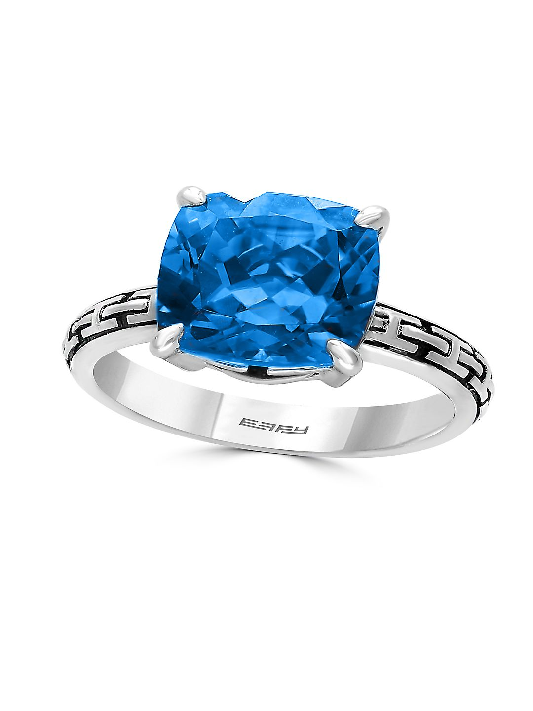 Blue Topaz and 0.925 Sterling Silver Cutout Shank Ring