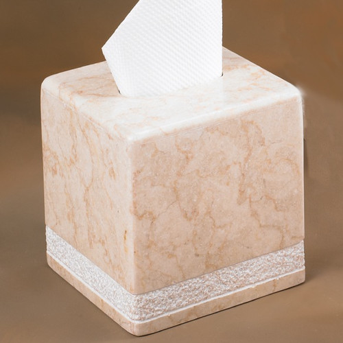 Creative Home Champagne Marble Hand Carved Tissue Box Holder (Set of 2)