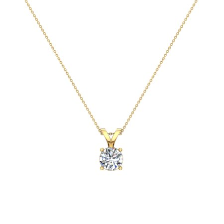 3/4 ct tw SI1 G Natural Round Brilliant Diamond Solitaire Pendant Necklace 14K Yellow Gold (Si1 Round Solitaire)