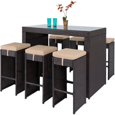 Best Choice Products 7-Piece Outdoor Rattan Wicker Bar Dining Patio Furniture Set w/ Glass Table Top and 6 Stools, Brown ()