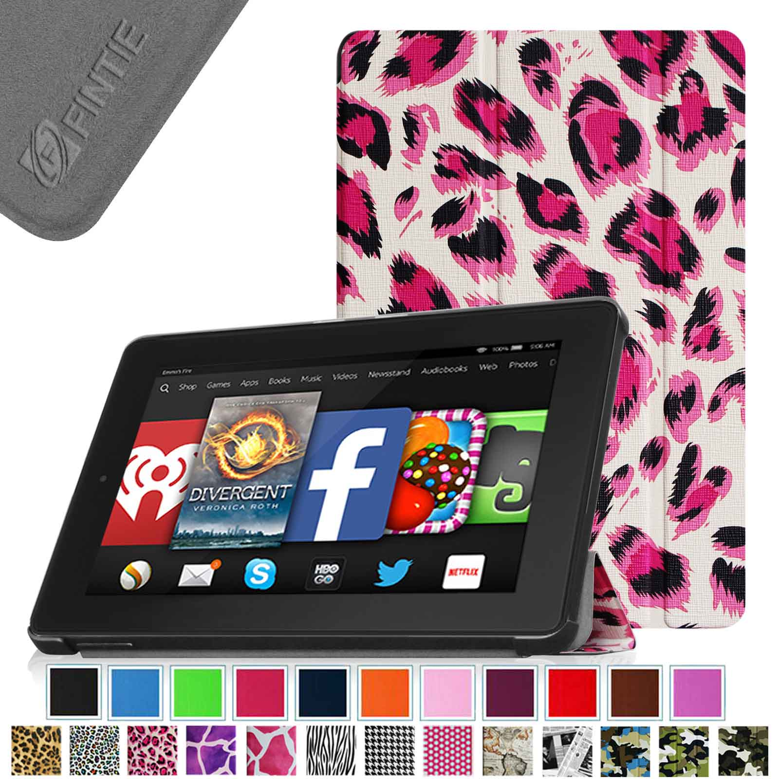 Fintie Kindle Fire HD 7 Tablet (2014 Oct Release) SlimShell Case - Standing Cover w/ Sleep/Wake, Leopard Magenta