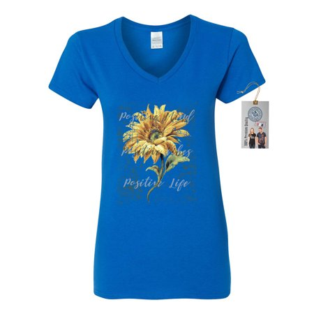 Positive Mind Vibes and Life Sunflower Womens V-Neck Shirt Top