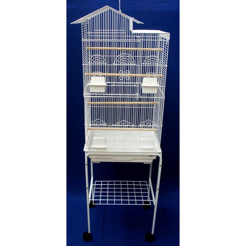 Yaheetech 52''Bird Cage Large Wrought Iron Flight Cage with Rolling Stand+2  Doors+4 Feeder Trays+2 Perches for Parrot Cockatiel Cockatoo Parakeet