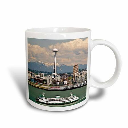 3dRose Washington, Seattle. Ferry crosses Elliot Bay - US48 CCR0218 - Charles Crust, Ceramic Mug, 15-ounce