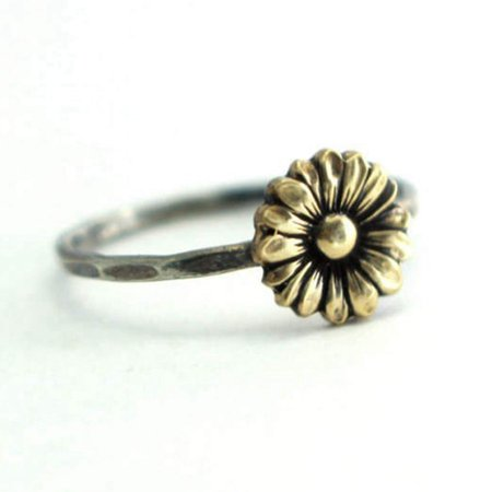 AkoaDa Vintage Vintage Sunflower Jewelry Women 18K White Gold Plated Flower Stack Sunflower Ring Floral Boho Rings Bride Wedding (White Gold Stack Ring)