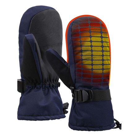 Thinsulate Waterproof Winter Ski Mittens w/ Handwarmer Pocket,Navy,L/XL