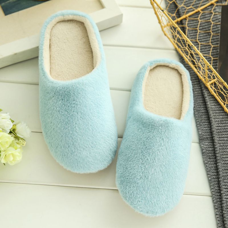 Enjoyofmine Women's Solid Color Non-slip Plush Soft Cotton Slippers Autumn Winter Slippers for Women