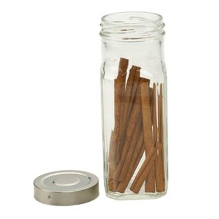 - RSVP Large Square Glass Spice Bottle - Clear