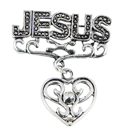 Jesus Heart Brooch Lapel Pin Cubic Zirconia Diamond Love Christian Religious by