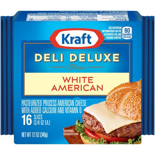 Kraft Deli Deluxe American White Slices 16 ct Cheese, 12 oz