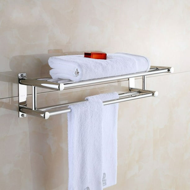 Hilitand Dual Level Bath Towel Holder With 6 Towel Rails Stainless Steel Towel Rack Luxury Solid Polished Chrome Towel Rack Towel Wall Shelf Bathroom Walmart Com Walmart Com