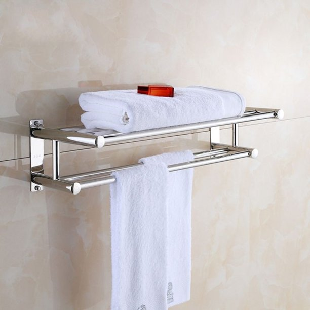 Ebtools Towel Rack Stainless Steel Solid Polished Chrome Towel Rack Towel Wall Shelf Bathroom Towel Rack Walmart Com Walmart Com