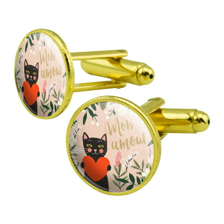 Mon Amour My Love French Cat Heart Round Cufflink Set Gold Color