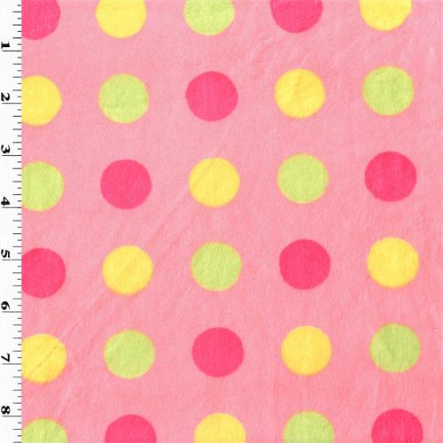 Pink/Multi Dot Minky, Fabric By the Yard