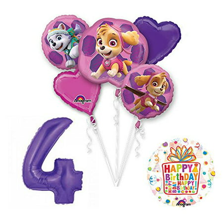 Sky Supply - PAW PATROL SKYE & EVEREST 4th Birthday Party Balloons Decoration Supplies Cha...