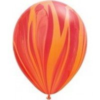 Mayflower Balloons 10511 11 Inch Red and Orange Agate Latex Pack Of 25