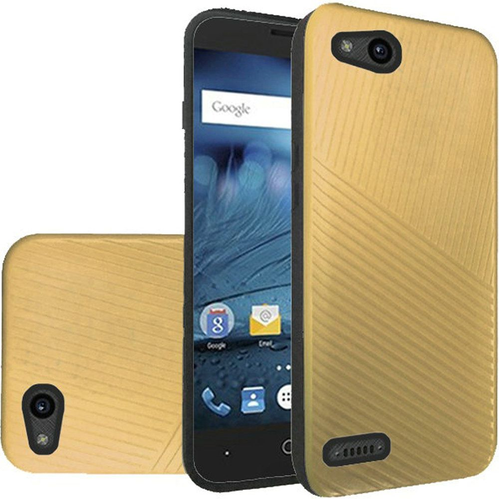 For ZTE Tempo X ZTE Avid 4 Textured Embossed Lines Tough Hybrid - Gold