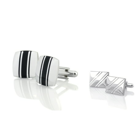 "Zodaca Silver Square Diagonal Ribbed 18x14mm+Black/Silver Square 0.6""x0.6"" Cufflinks (2-in-1 Accessory Bundle)"