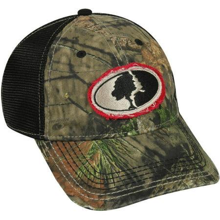 Mossy Oak Mesh Back Camo Cap, Mossy Oak Break-Up Country Camo/Black, Flexible Fitted - Mossy Oak Mesh Cap