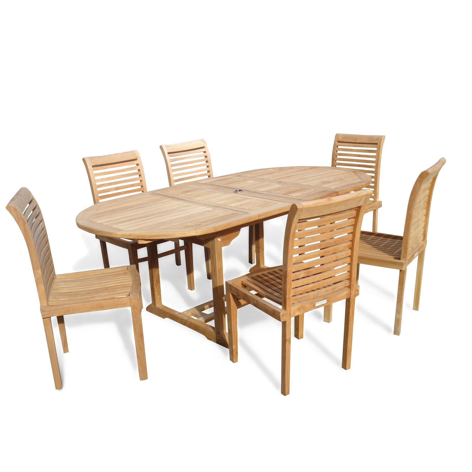 Windsor Teak Furniture Buckingham Double Extension Teak 7 Piece Outdoor Dining Room Set by Windsor Teak Furniture