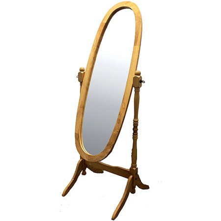 ORE International Wooden Cheval Floor Mirror, Natural Oak