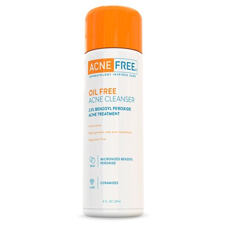 AcneFree Oil Free Acne Face Wash with 2.5% Micronized Benzoyl Peroxide, 8 fl