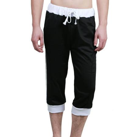 Men's Drawstring Waist Pockets Striped Capris - Capri Drawstring Trunk