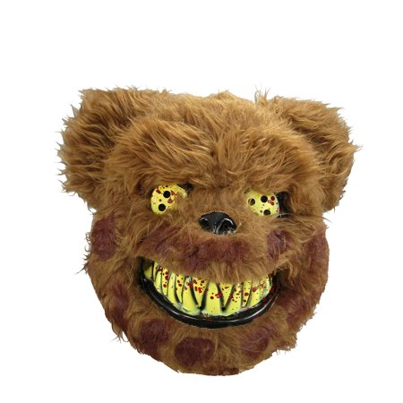 Brown Crazed Teddy Bear Animal Scary Evil Mask Halloween Adult Costume Accessory (Scary Halloween Masks To Print)