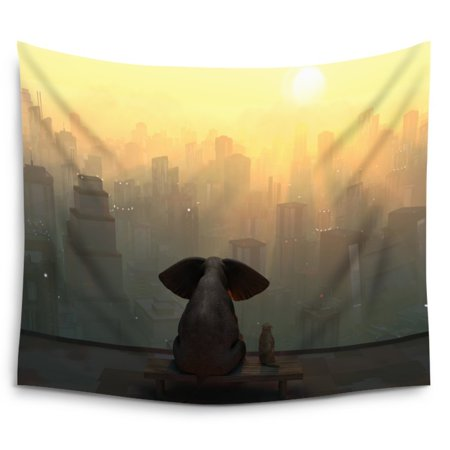POPCreation Elephant And Dog Sit On The Roof Of A Skyscraper Wall Hanging Tapestry Wall Art Tapestry 51x60 Inches