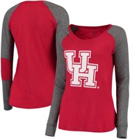 Houston Cougars Women's Preppy Elbow Patch Slub Long Sleeve T-Shirt - Red