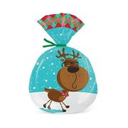 Funny Reindeer Cello Treat Bags With Green Twist Ties - 9 1/4in. x 6in. - 15 Pack