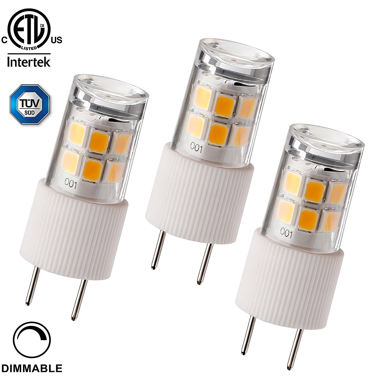 3 PACK 2.3W T4 G8 LED Light Bulb, 30W Bi-Pin Xenon JCD Type Halogen Replacement, 2700K Soft White, 270Lm, Puck Light, Under Cabinet Light, Desk Lamps, 100-130V
