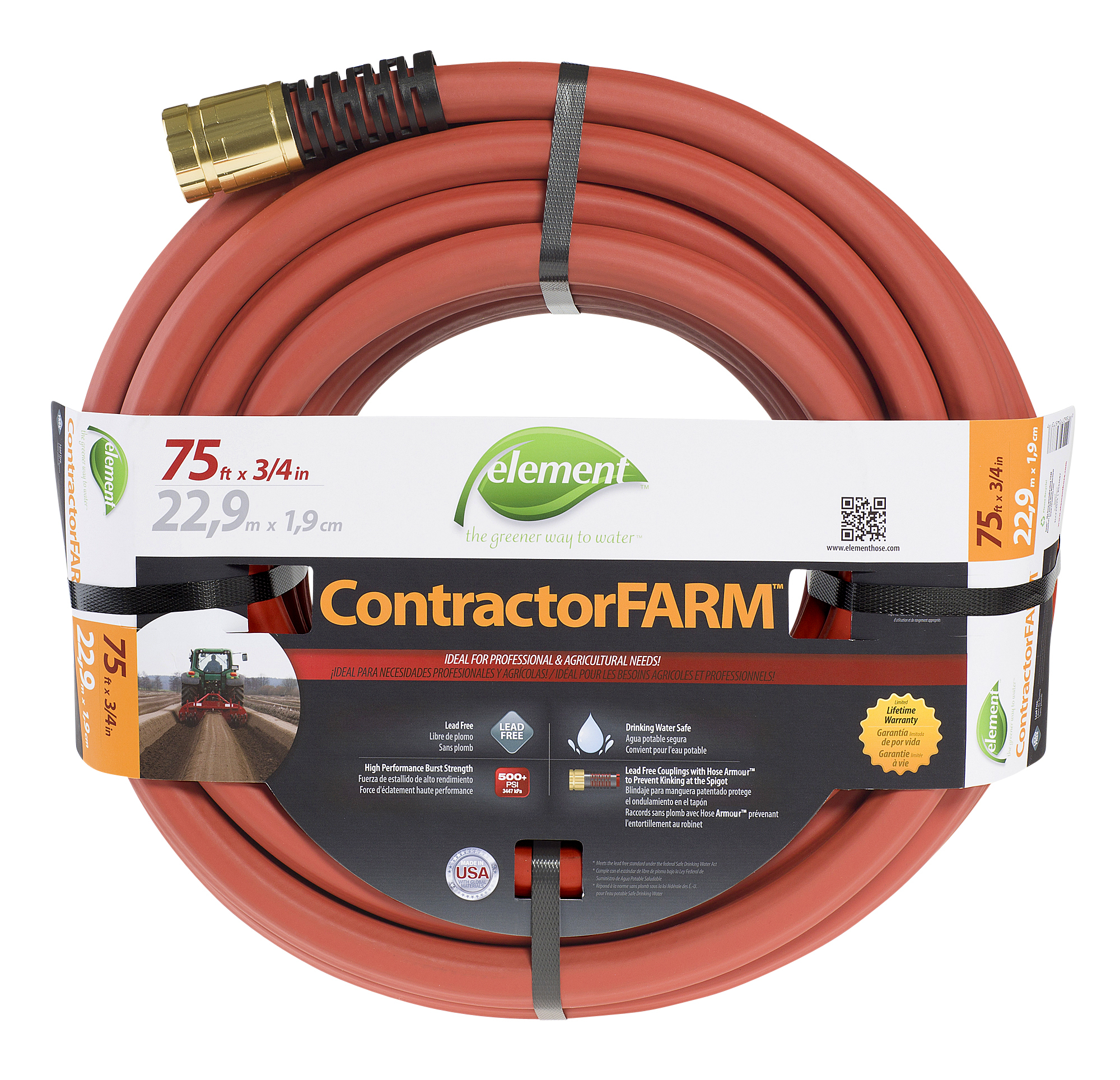 Swan Element Contractor Farm Hose, 3/4 In. X 75 Ft. Brick