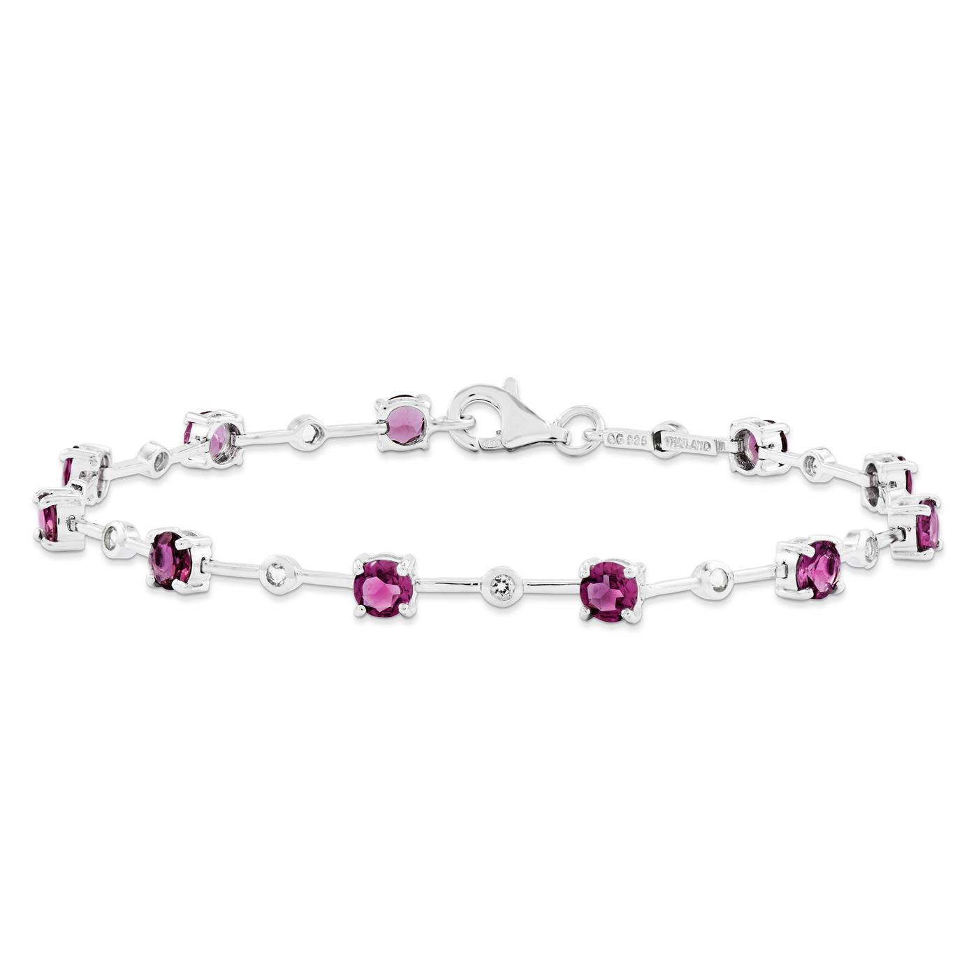 "925 Sterling Silver 4mm Pink Tourmaline Gemstone Bracelet 7"" by"