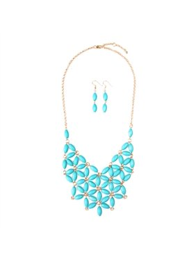 RIAH FASHION BEADED BIB NECKLACE AND EARRING SET