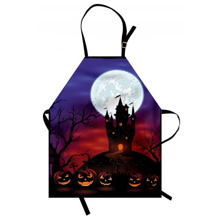Halloween Apron Gothic Haunted House Castle Hill Valley Night Sky October Festival Theme Print, Unisex Kitchen Bib Apron with Adjustable Neck for Cooking Baking Gardening, Multicolor, by Ambesonne](Halloween Themed Cooking Ideas)