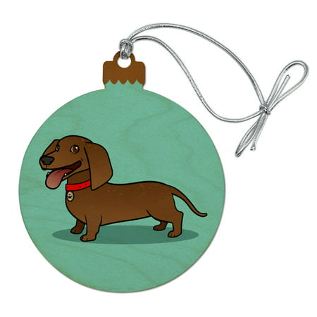Dachshund Wiener Dog Cartoon Wood Christmas Tree Holiday Ornament - Christmas Cartoon Tree