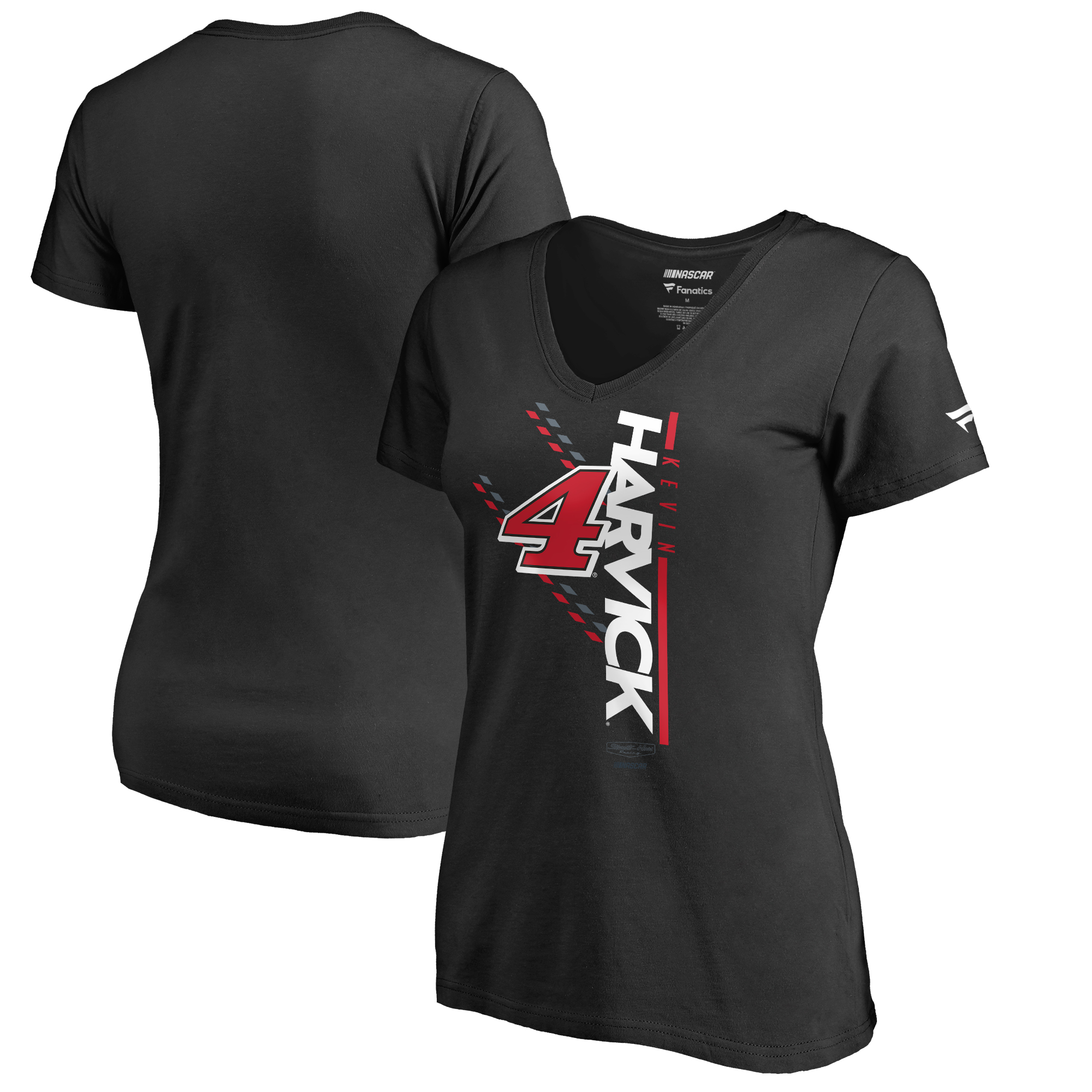 Kevin Harvick Fanatics Branded Women's NASCAR Track Bar V-Neck T-Shirt - Black